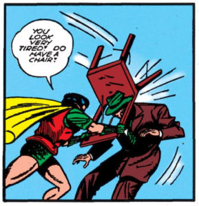 Robin hits a thug with a chair