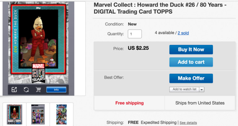 Marvel Collect listing on eBay