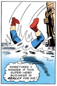 Spider-Man falls off a pier